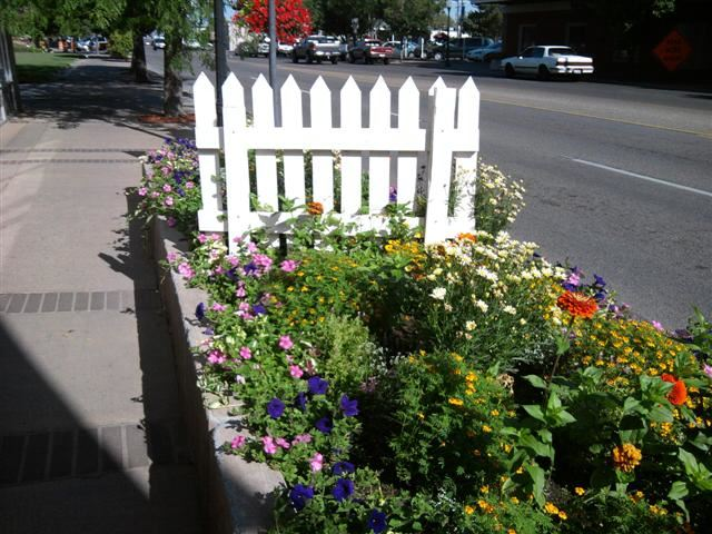 A small flower bed next to a road.